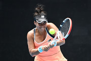 Heather Watson of Great Britain plays a backhand in her Women's Singles second round match against Anett Kontaveit of Estonia during day four of the 2021 Australian Open at Melbourne Park on February 11, 2021 in Melbourne, Australia.