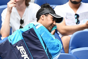 Heather Watson of Great Britain wipes her face after losing her Women's Singles second round match against Anett Kontaveit of Estonia during day four of the 2021 Australian Open at Melbourne Park on February 11, 2021 in Melbourne, Australia.