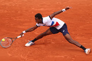 Gael Monfils of France plays a forehand during his mens second round match against Mikael Ymer of Sweden during day five of the 2021 French Open at Roland Garros on June 03, 2021 in Paris, France.