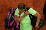Rafael Nadal of Spain looks dejected as he leaves the court after losing his Men's Singles Semi Final match against Novak Djokovic of Serbia on day Thirteen of the 2021 French Open at Roland Garros on June 11, 2021 in Paris, France.