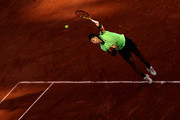 Rafael Nadal of Spain serves during his Men's Singles Semi Final match against Novak Djokovic of Serbia on day Thirteen of the 2021 French Open at Roland Garros on June 11, 2021 in Paris, France.