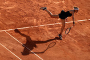 Andrea Petkovic of Germany serves in their ladies first round match against Karolina Muchova of the Czech Republic during day three of the 2021 French Open at Roland Garros on June 01, 2021 in Paris, France.