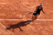 Andrea Petkovic of Germany plays a forehand in their ladies first round match against Karolina Muchova of the Czech Republic during day three of the 2021 French Open at Roland Garros on June 01, 2021 in Paris, France.