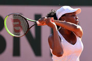 Venus Williams of The United States plays a backhand in their ladies first round match against Ekaterina Alexandrova of Russia during day three of the 2021 French Open at Roland Garros on June 01, 2021 in Paris, France.
