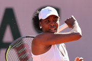 Venus Williams of The United States plays a forehand in their ladies first round match against Ekaterina Alexandrova of Russia during day three of the 2021 French Open at Roland Garros on June 01, 2021 in Paris, France.