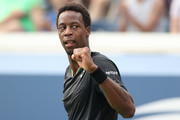 Gael Monfils of France celebrates a point against Federico Coria of Argentina during his Men's Singles first round match on Day Two of the 2021 US Open at the Billie Jean King National Tennis Center on August 31, 2021 in the Flushing neighborhood of the Queens borough of New York City.