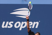 Gael Monfils of France serves the ball against Federico Coria of Argentina during his Men's Singles first round match on Day Two of the 2021 US Open at the Billie Jean King National Tennis Center on August 31, 2021 in the Flushing neighborhood of the Queens borough of New York City.