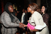 Gabourey Sidibe (L) attends the 20th Anniversary Bottomless Closet Luncheon at Cipriani 42nd Street on May 15, 2019 in New York City.