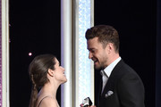 "Presenter Anna Kendrick (L) and Recording artist Justin Timberlake, recipient of the ""Hollywood Song Award"" for ""CAN'T STOP THE FEELING!"", onstage at the 20th Annual Hollywood Film Awards at The Beverly Hilton Hotel on November 6, 2016 in Beverly Hills, California."