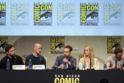 "(L-R) Actor Nicholas Hoult, actor James McAvoy, director Bryan Singer, actress Jennifer Lawrence and actor Michael Fassbender from ""X-Men: Apocalypse"" speak onstage at the 20th Century FOX panel during Comic-Con International 2015 at the San Diego Convention Center on July 11, 2015 in San Diego, California."