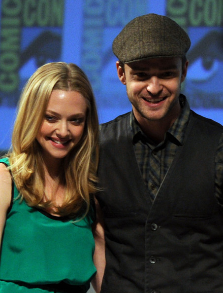 Actors Amanda Seyfried and Justin Timberlake speak at 20th Century Fox Panel at the San Diego Convention Center on July 21, 2011 in San Diego, California.