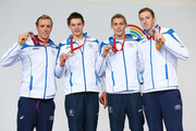 (L-R) Silver medallists Robbie Renwick, Duncan Scott, Stephen Milne and Daniel Wallace of Scotland pose during the medal ceremony for the Men's 4 x 200m Freestyle Relay Final at Tollcross International Swimming Centre during day four of the Glasgow 2014 Commonwealth Games on July 27, 2014 in Glasgow, Scotland.