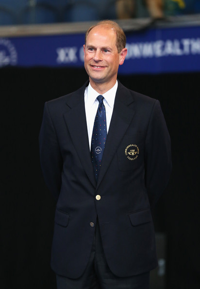 Prince Edward, Earl of Wessex looks on during a medal ceremony presentation as he attends the evening session at Tollcross International Swimming Centre during day two of the Glasgow 2014 Commonwealth Games on July 25, 2014 in Glasgow, Scotland.