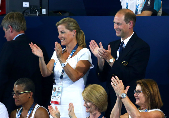 Prince Edward, Earl of Wessex and Sophie, Countess of Wessex applaud as they attend the evening session at Tollcross International Swimming Centre during day two of the Glasgow 2014 Commonwealth Games on July 25, 2014 in Glasgow, Scotland.