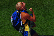 Carolina Kluft of Sweden celebrates after competing in the Womens Long Jump Qualifying during day one of the 20th European Athletics Championships at the Olympic Stadium on July 27, 2010 in Barcelona, Spain.