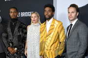 """Stephan James, Sienna Miller, Chadwick Boseman and Taylor Kitsch attend the """"21 Bridges"""" New York Screening at AMC Lincoln Square Theater on November 19, 2019 in New York City."""