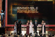 The cast of Downton Abbey accepts the award for Outstanding Performance by an Ensemble in a Drama Series onstage at the 21st Annual Screen Actors Guild Awards at The Shrine Auditorium on January 25, 2015 in Los Angeles, California.