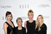 (L-R) Actors Dakota Johnson, Tippi Hedren, Melanie Griffith and Stella Banderas attend the 22nd Annual ELLE Women in Hollywood Awards at Four Seasons Hotel Los Angeles at Beverly Hills on October 19, 2015 in Los Angeles, California.