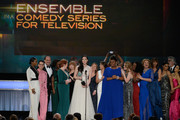 The cast of 'Orange Is the New Black,' including actors Vicky Jeudy, Lori Petty, Uzo Aduba, Kate Mulgrew, Annie Golden, Laura Prepon, Dale Soules, Laverne Cox, and Michelle Hurst, accept Outstanding Performance by an Ensemble in a Comedy Series award onstage during the 22nd Annual Screen Actors Guild Awards at The Shrine Auditorium on January 30, 2016 in Los Angeles, California.