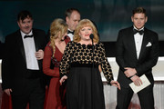 (L-R) Actors Jeremy Swift, Joanne Froggatt, Kevin Doyle, Lesley Nicol, and Allen Leech accept Outstanding Performance by an Ensemble in a Drama Series for 'Downton Abbey' onstage during the 22nd Annual Screen Actors Guild Awards at The Shrine Auditorium on January 30, 2016 in Los Angeles, California.