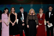(L-R) Actors Sophie McShera, Raquel Cassidy, Jeremy Swift, Lesley Nicol, Joanne Froggatt, and Allen Leech accept Outstanding Performance by an Ensemble in a Drama Series for 'Downton Abbey' onstage during the 22nd Annual Screen Actors Guild Awards at The Shrine Auditorium on January 30, 2016 in Los Angeles, California.