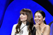 (L-R) Lorene Scafaria and Constance Wu speak onstage during the 22nd CDGA (Costume Designers Guild Awards) at The Beverly Hilton Hotel on January 28, 2020 in Beverly Hills, California.