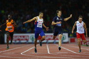 Adam Gemili of Great Britain and Northern Ireland crosses the finish line to win gold ahead of silver medalist Christophe Lemaitre of France in the Men's 200 metres final during day four of the 22nd European Athletics Championships at Stadium Letzigrund on August 15, 2014 in Zurich, Switzerland.