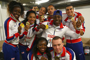 Adam Gemili, Ashleigh Nelson, Richard Kilty, James Ellington, Asha Phillip, Harry Aikines-Aryeetey, Jodie Williams and Desiree Henry of Great Britain pictured after winning Gold in the Mens and Womens 4x100m relay during day six of the 22nd European Athletics Championships at Stadium Letzigrund on August 17, 2014 in Zurich, Switzerland.