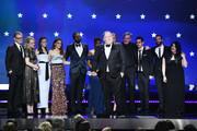 Writer/producer Bruce Miller (C) with cast and crew accept Best Drama Series for 'The Handmaid's Tale' onstage during The 23rd Annual Critics' Choice Awards at Barker Hangar on January 11, 2018 in Santa Monica, California.