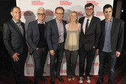 (L-R) Chairman Stuart Match Suna actor John Slattery, director Tom McCarthy, HIFF Executive Director Anne Chaisson, HIFF Artistic Director David Nugent, and Writer Josh Singer attend 'Spotlight' red carpet photo call  during  Day 3 of the 23rd Annual Hamptons International Film Festival on October 10, 2015 in East Hampton, New York.