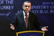 Turkish President Recep Tayyip Erdogan delivers a speech during the 23rd World Energy Congress on October 10, 2016 in Istanbul..Russian President Vladimir Putin visits Turkey on October 10 for talks with counterpart Recep Tayyip Erdogan, pushing forward ambitious joint energy projects as the two sides try to overcome a crisis in ties.. / AFP / OZAN KOSE