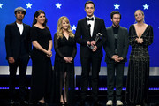(L-R) Kunal Nayyar, Mayim Bialik, Melissa Rauch, Jim Parsons, Simon Helberg, and Kaley Cuoco speak onstage during the 24th annual Critics' Choice Awards at Barker Hangar on January 13, 2019 in Santa Monica, California.