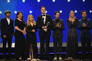 (L-R) Kunal Nayyar, Mayim Bialik, Melissa Rauch, Jim Parsons, Simon Helberg, Kaley Cuoco, and Johnny Galecki present the Creative Achievement Award onstage during the 24th annual Critics' Choice Awards at Barker Hangar on January 13, 2019 in Santa Monica, California.