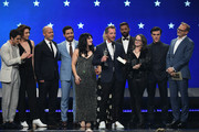 (L-R) Darren Criss, Cody Fern, Daniel Minahan, Alexis Martin Woodall, Tom Rob Smith, Ricky Martin, Nina Jacobson, Finn Wittrock, and Brad Simpson accept the Best Limited Series award for ''The Assassination of Gianni Versace: American Crime Story' onstage during the 24th annual Critics' Choice Awards at Barker Hangar on January 13, 2019 in Santa Monica, California.
