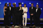 (L-R) Marin Hinkle, Tony Shalhoub, Caroline Aaron, Amy Sherman-Palladino, Michael Zegen, Rachel Brosnahan, Daniel Palladino, and Kevin Pollak accept the award for Best Comedy Series onstage during the 24th annual Critics' Choice Awards at Barker Hangar on January 13, 2019 in Santa Monica, California.