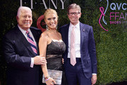 """Designer Dennis Basso, Event Host Jill Martin and President & CEO of QVC Mike George attend the 24th Annual QVC presents """"FFANY Shoes On Sale"""" Gala at The Ziegfeld Ballroom on October 10, 2017 in New York City."""