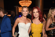 TV personalities Kym Johnson (L) and Sharna Burgess attend the 24th Annual Race To Erase MS Gala at The Beverly Hilton Hotel on May 5, 2017 in Beverly Hills, California.