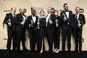 (L-R) Actors Dan Bakkedahl, Paul Scheer, Sam Richardson, Sarah Sutherland, Matt Walsh, Clea DuVall, Timothy Simons, and Tony Hale, winners of Outstanding Performance by an Ensemble in a Comedy Series for 'Veep,' pose in the press room during the 24th Annual Screen ActorsGuild Awards at The Shrine Auditorium on January 21, 2018 in Los Angeles, California.