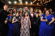 "The winners of outstanding performance by an ensemble cast in a drama series, ""This is Us,"" pose in the trophy room at the 24th Annual Screen Actors Guild Awards at The Shrine Auditorium on January 21, 2018 in Los Angeles, California. 27522_012"