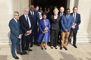 (L-R) Mayor of London Sadiq Khan, Labour Party Leader Jeremy Corbyn, Neville Lawrence, Doreen Lawrence, Baroness Lawrence of Clarendon, British Prime Minister Theresa May and Stuart Lawrence depart after attending the 25th Anniversary Memorial Service to celebrate the life and legacy of Stephen Lawrence at St Martin-in-the-Fields on April 23, 2018 in London, England.