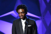 Caleb McLaughlin speaks onstage during the 25th Annual Critics' Choice Awards at Barker Hangar on January 12, 2020 in Santa Monica, California.