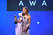 Kate Beckinsale accepts the Best Action Movie for 'Avengers: Endgame' on its behalf onstage during the 25th Annual Critics' Choice Awards at Barker Hangar on January 12, 2020 in Santa Monica, California.