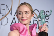 Emily Blunt poses in the press room with award for Outstanding Performance by a Female Actor in a Supporting Role in 'A Quiet Place' during the 25th Annual Screen ActorsGuild Awards at The Shrine Auditorium on January 27, 2019 in Los Angeles, California. 480645