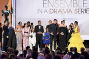 Cast members of 'This Is Us' accept the Outstanding Performance by an Ensemble in a Drama Series onstage during the 25th Annual Screen Actors Guild Awards at The Shrine Auditorium on January 27, 2019 in Los Angeles, California.