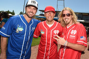 Actor Charles Esten, radio personality Bobby Bones, and singer Bucky Covington attend the 26th Annual City of Hope Celebrity Softball Game at First Tennessee Park on June 7, 2016 in Nashville, Tennessee.