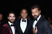 (L-R) Darren Criss, Don Lemon and Ricky Martin attend the 26th annual Elton John AIDS Foundation Academy Awards Viewing Party sponsored by Bulgari, celebrating EJAF and the 90th Academy Awards at The City of West Hollywood Park on March 4, 2018 in West Hollywood, California.