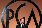 Lionsgate CEO Jon Feltheimer accepts the Milestone Award onstage during the 26th Annual Producers Guild Of America Awards at the Hyatt Regency Century Plaza on January 24, 2015 in Los Angeles, California.