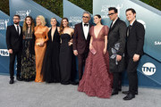 (L-R) Dustin Milligan, Annie Murphy, Catherine O'Hara, Jennifer Robertson, Sarah Levy, Eugene Levy, Emily Hampshire, Dan Levy, and Noah Reid attends the 26th Annual Screen Actors Guild Awards at The Shrine Auditorium on January 19, 2020 in Los Angeles, California. 721430