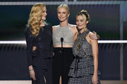 (L-R) Nicole Kidman, Charlize Theron and Margot Robbie speak onstage during the 26th Annual Screen ActorsGuild Awards at The Shrine Auditorium on January 19, 2020 in Los Angeles, California. 721359