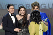 (L-R) Michael Zegen, Marin Hinkle, Alex Borstein, and Caroline Aaron accept Outstanding Performance by an Ensemble in a Comedy Series for 'The Marvelous Mrs. Maisel' onstage at the 26th Annual Screen Actors Guild Awards at The Shrine Auditorium on January 19, 2020 in Los Angeles, California. 721359